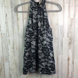 Silk 8 Michael Kors High Neck Illusion Black Lace
